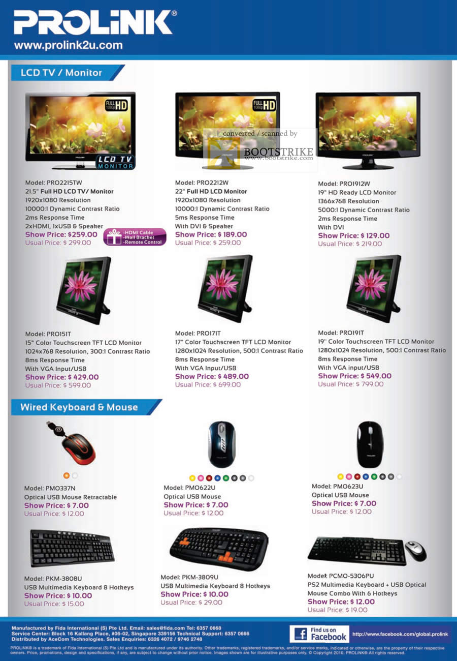 Sitex 2010 price list image brochure of Fida Prolink LCD TV Monitor PRO Wired Keyboard Mouse USB PS2