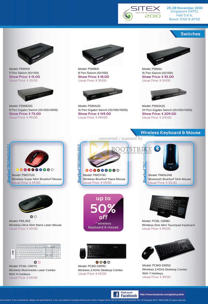 Sitex 2010 price list image brochure of Fida Prolink Switches PSW Wireless Keyboard Mouse PCML PML PCMO