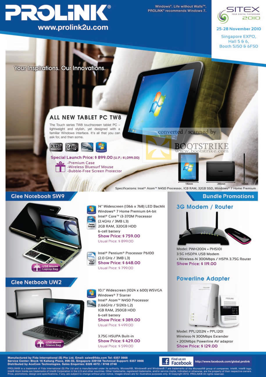 Sitex 2010 price list image brochure of Fida Prolink Tablet PC TW8 Touch Glee SW9 Netbook UW2 3G Modem Powerline Router Adapter