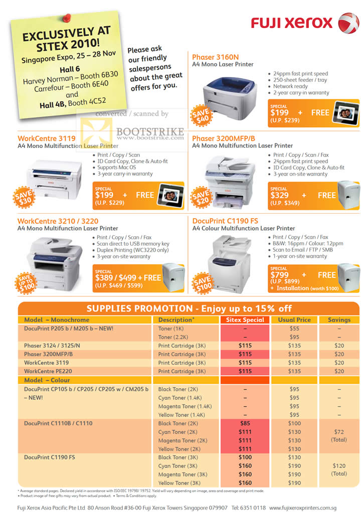 Sitex 2010 price list image brochure of Fuji Xerox Laser Printers Phaser 3160N WorkCentre 3119 3200MFP 3210 3220 C1190 FS Toner Cartridges