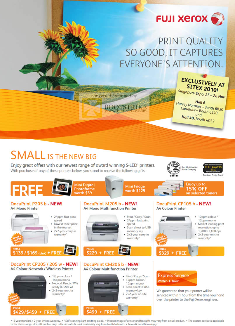 Sitex 2010 price list image brochure of Fuji Xerox Printers DocuPrint P205 B M205 CP105 CP205 205w CM205 Multifunction