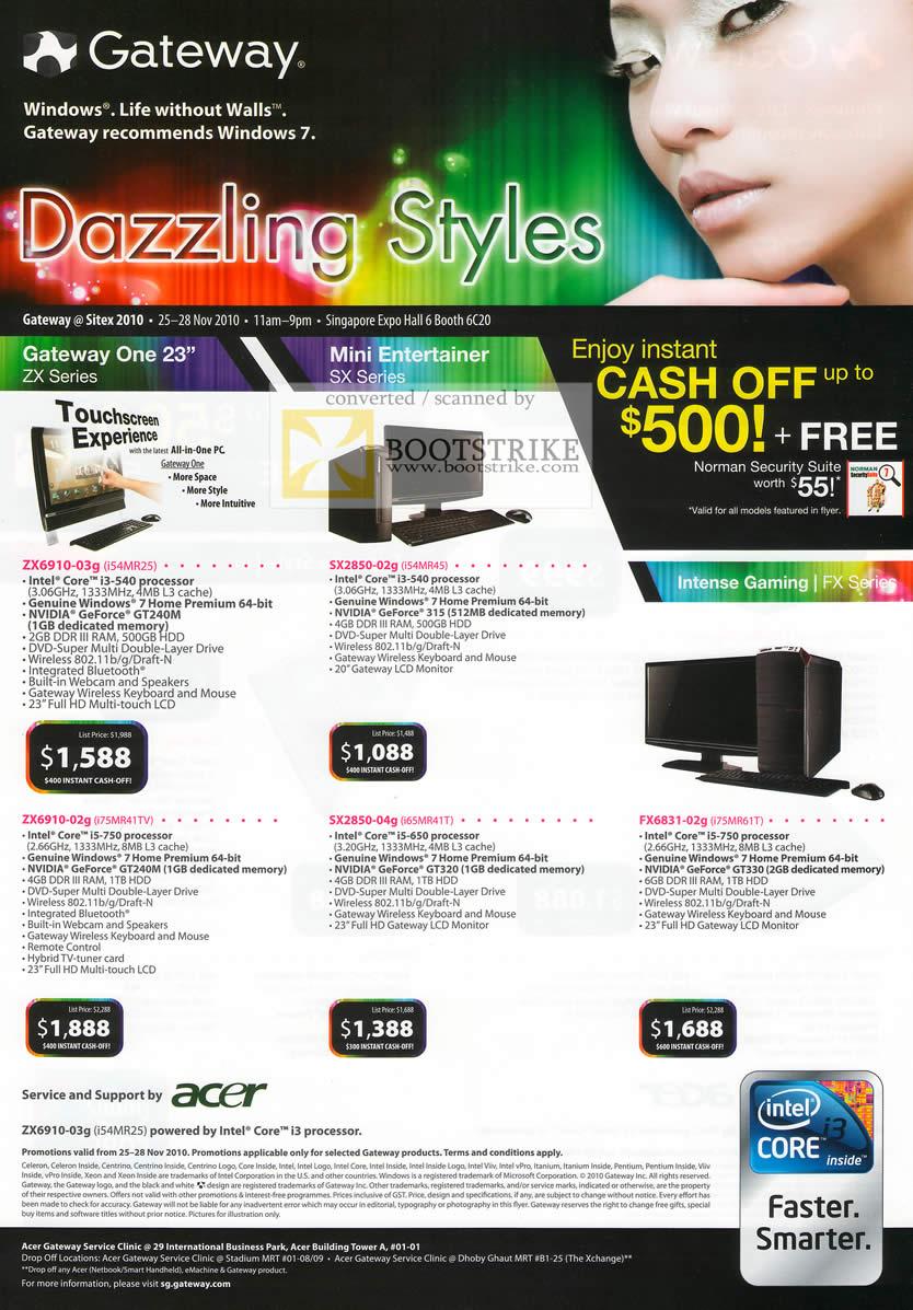 Sitex 2010 price list image brochure of Gateway Desktops AIO All In One ZX Series ZX6910 03g SX2850 SX2850 FX6831