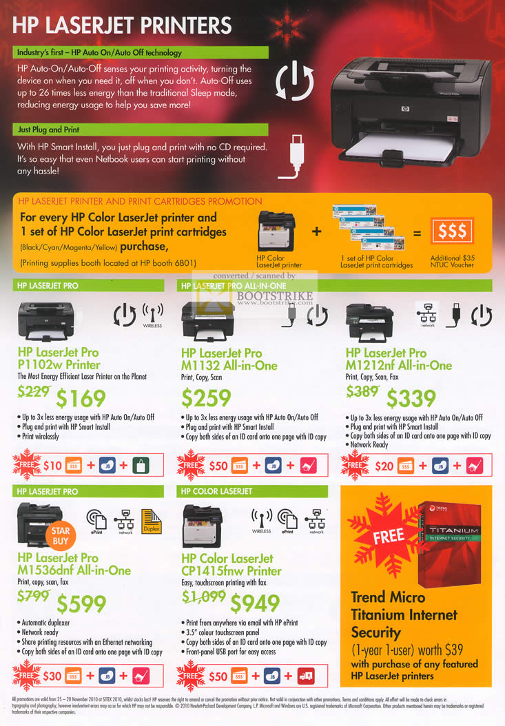 Sitex 2010 price list image brochure of HP Laserjet Laser Printers Pro P1102w M1132 M1212nf M1536dnf CP1415fnw