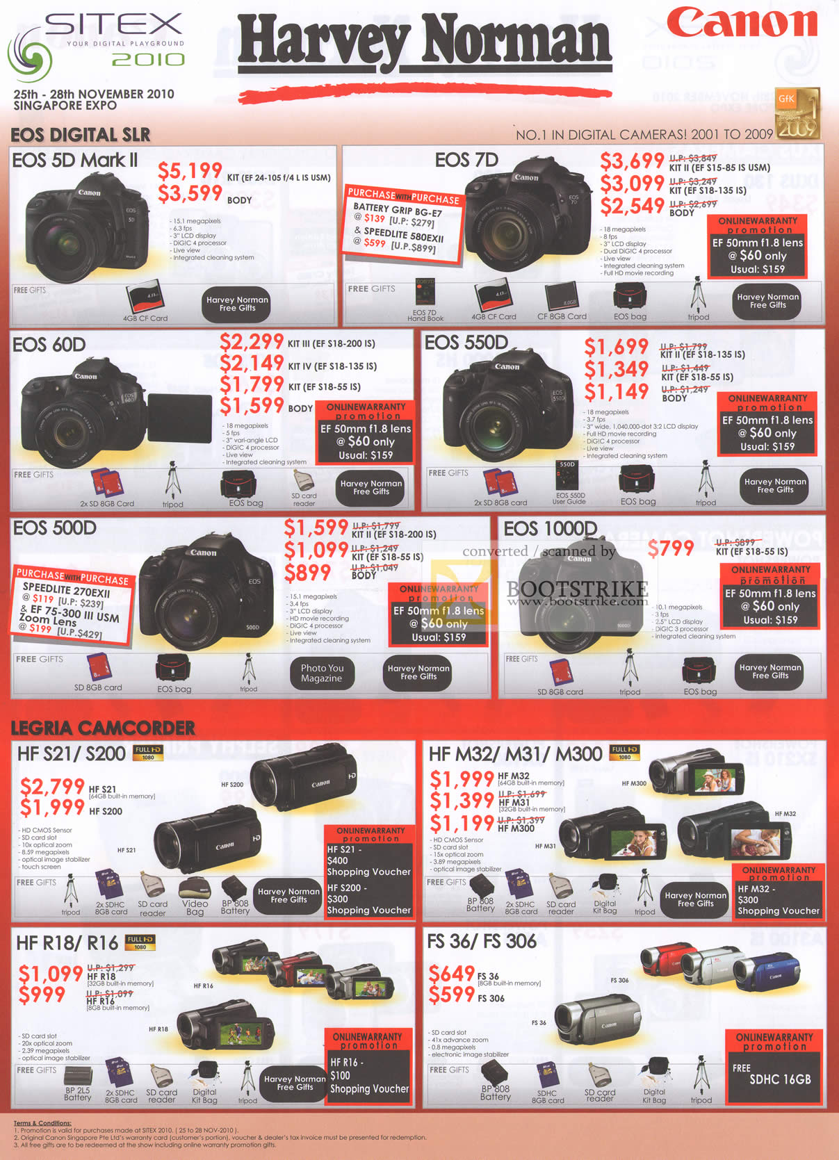 Sitex 2010 price list image brochure of Harvey Norman Canon EOS Digital Cameras DSLR 5D Mark II 7D 60D 550D 500D 1000D Legria Video Camcorder HF FS36 M32