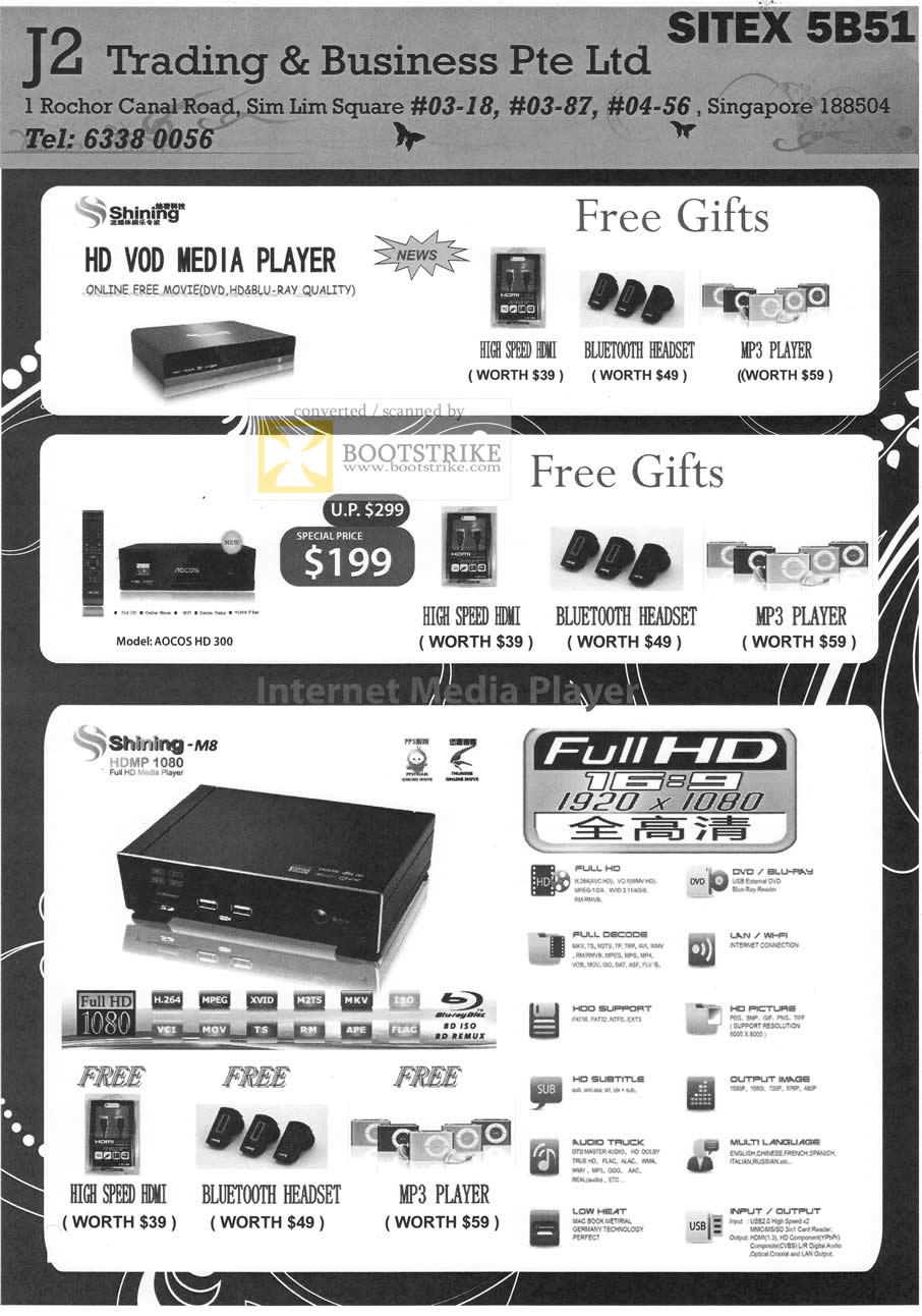 Sitex 2010 price list image brochure of J2 Trading Media Player Shining Aocos HD 300 M8 HDMP 1080