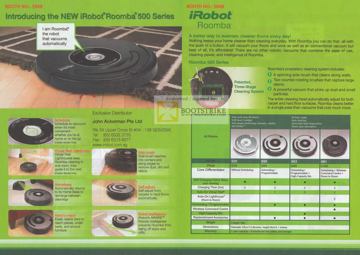 Sitex 2010 price list image brochure of John Ackerman IRobot Roomba Floor Cleaner 520 555 563 581
