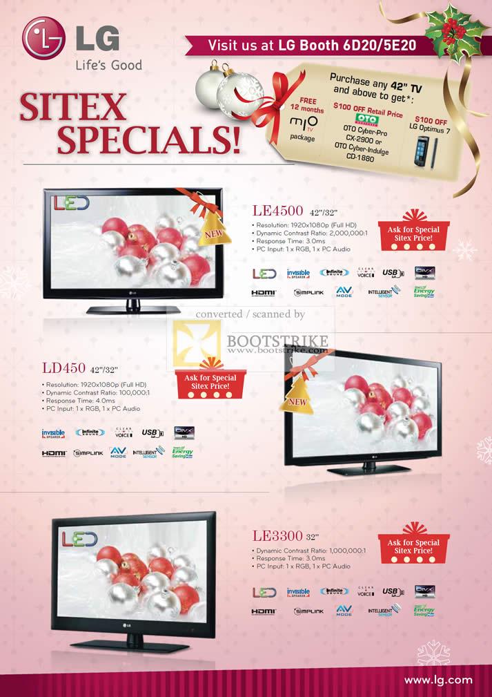 Sitex 2010 price list image brochure of LG LED TV LE4500 LD450 LE3300
