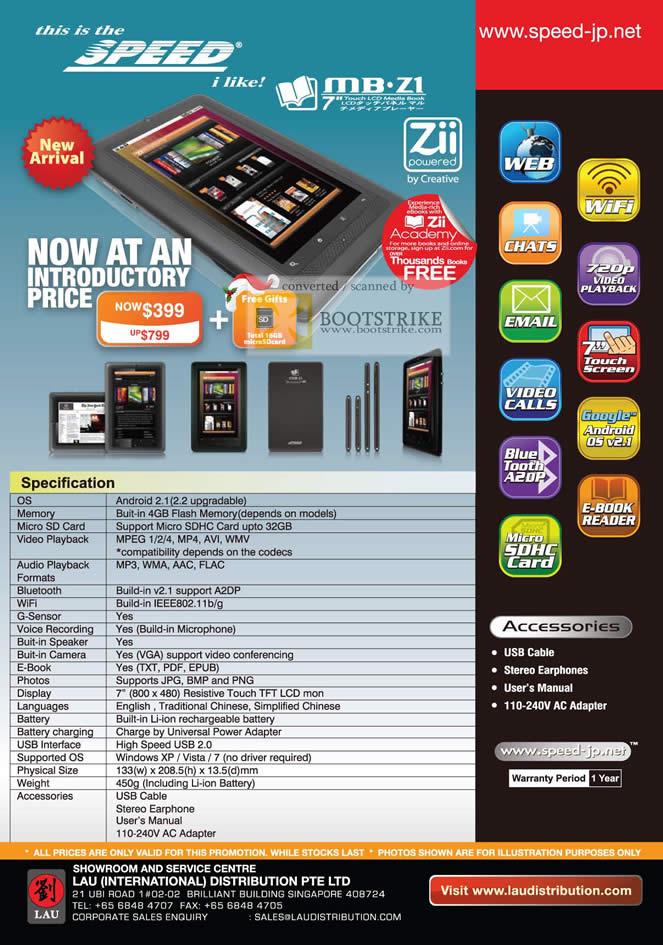 Sitex 2010 price list image brochure of Lau Intl Speed MB Z1 Zii Android Ebook Media Book