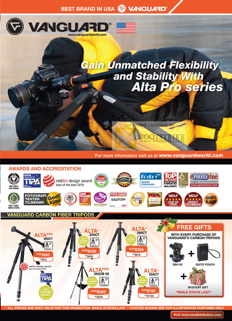Sitex 2010 price list image brochure of Lau Intl Vanguard Alta Pro Awards Accreditation Carbon Fiber Tripods