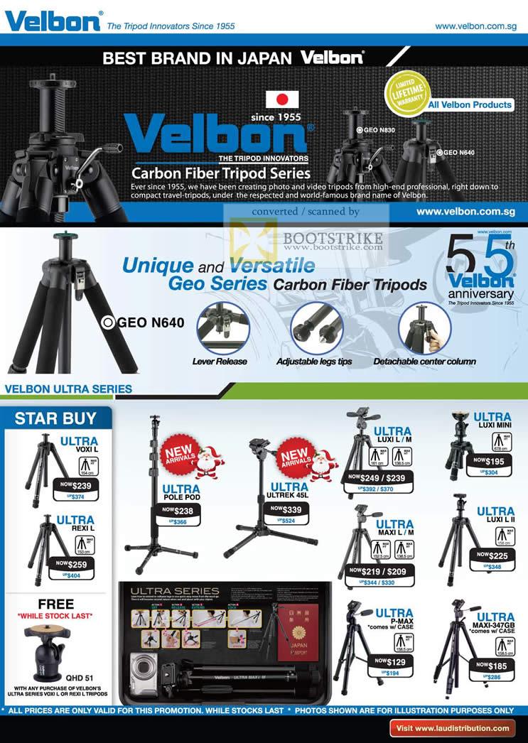 Sitex 2010 price list image brochure of Lau Intl Velbon Carbon Fiber Tripod Geo Ultra Pole Pod Luxi Maxi