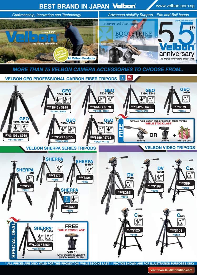 Sitex 2010 price list image brochure of Lau Intl Velbon Geo Professional Carbon Fiber Tripods Sherpa Video DV