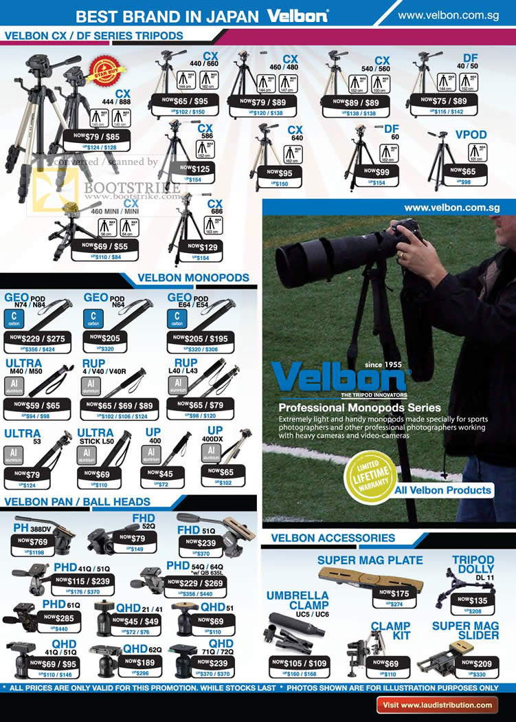 Sitex 2010 price list image brochure of Lau Intl Velbon Tripods CX DF Monopods Geo Vpod Pan Ball Heads FHD QHD PHD Accessories
