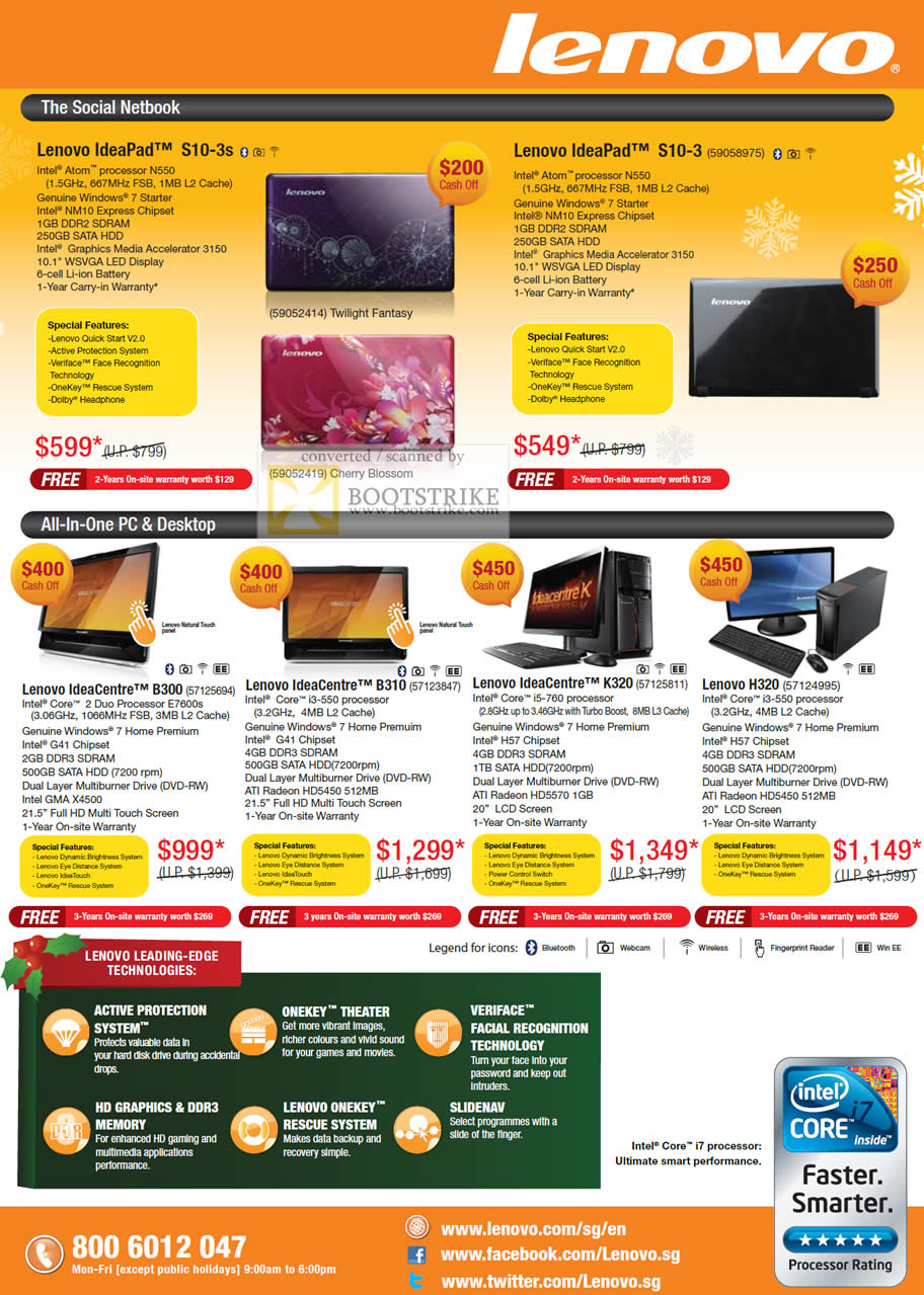 Sitex 2010 price list image brochure of Lenovo Netbook IdeaPad S10 3s 3 Notebook Desktop PC All In One AIO IdeaCentre B300 B310 K320 H320 Veriface