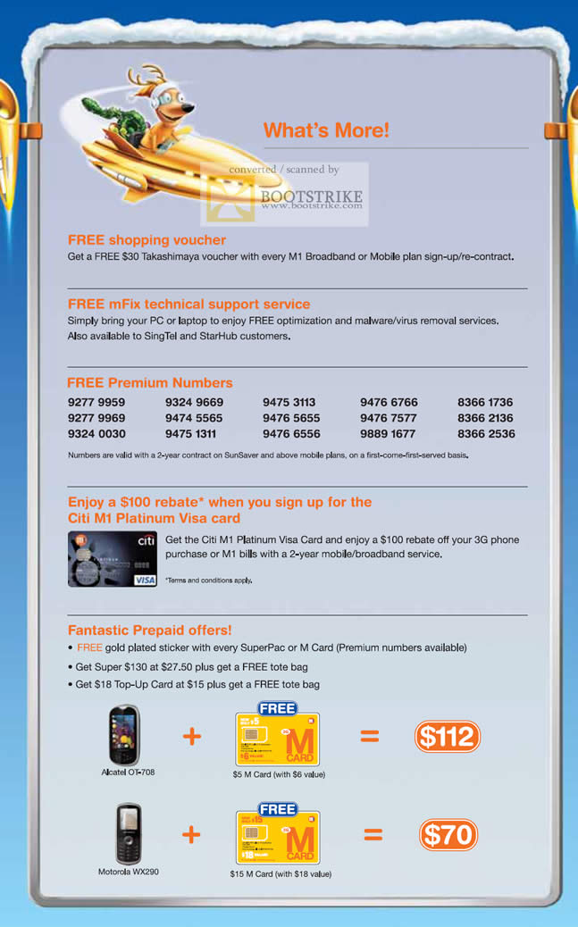 Sitex 2010 price list image brochure of M1 Free Shopping Voucher MFix Premium Numbers Citi M1 Prepaid Offers M Card