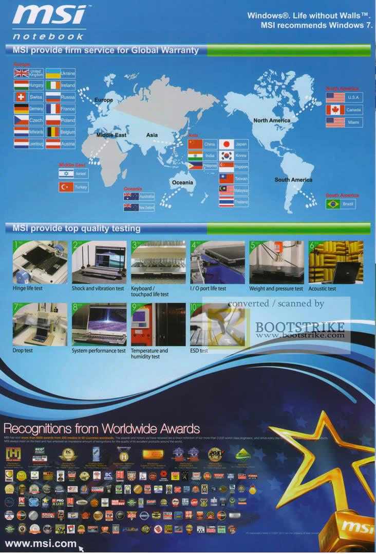 msi global international warranty testing awards sitex