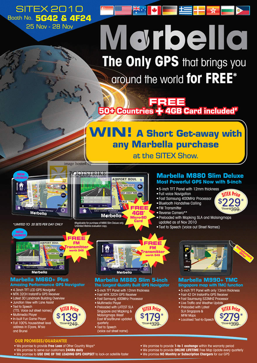Sitex 2010 price list image brochure of Marbella GPS M880 Slim Deluxe M660 Plus M990 TMC
