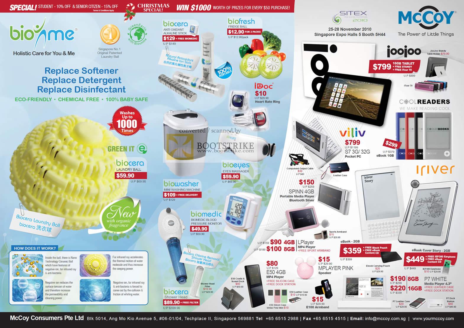 Sitex 2010 price list image brochure of Mccoy Biounme Biocera Biofresh Biowasher Biomedic Joojoo Coolreaders Viliv Iriver Mplayer Spinn