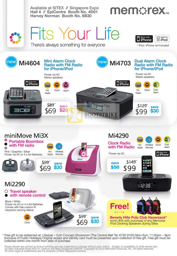 Sitex 2010 price list image brochure of Memorex Mi4604 Mi4703 MiniMove Mi3x Mi4290 Mi2290 Speaker Boombox Radio Clock IPhone IPod