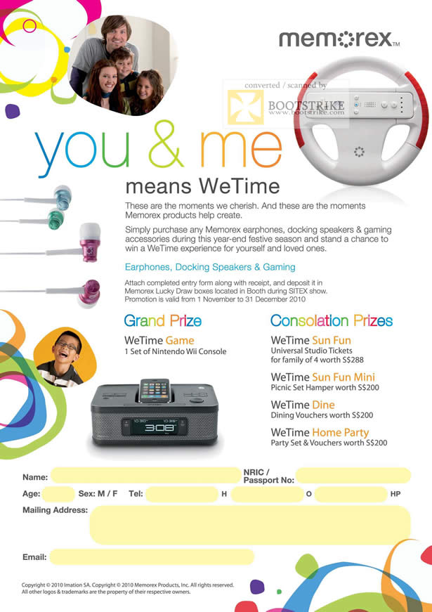 Sitex 2010 price list image brochure of Memorex WeTime Lucky Draw