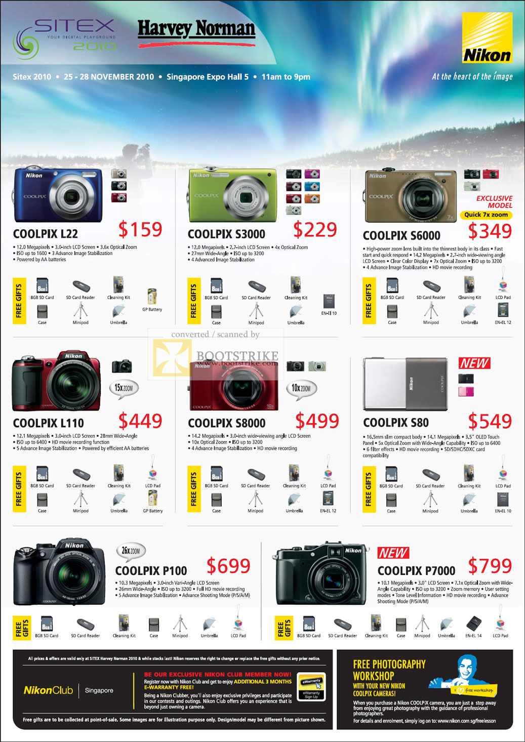 Sitex 2010 price list image brochure of Nikon Digital Cameras Coolpix L22 S3000 S6000 L110 S8000 S80 P100 P7000
