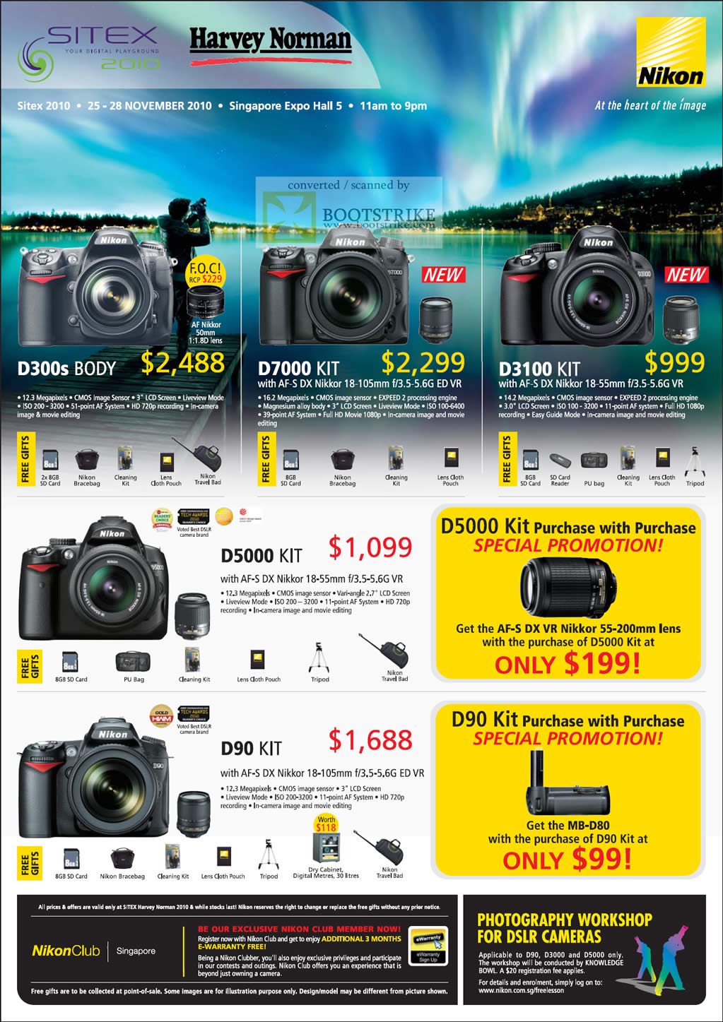 Sitex 2010 price list image brochure of Nikon Digital Cameras DSLR D300s D7000 D3100 Kit Body D5000 D90