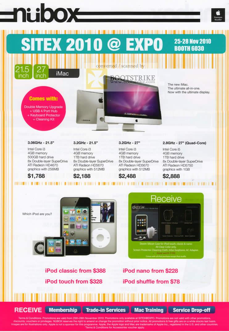 Sitex 2010 price list image brochure of Nubox Apple IMac IPod Classic Nano Touch Shuffle