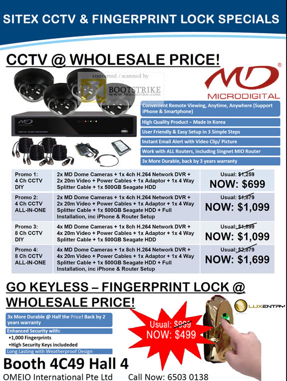 Sitex 2010 price list image brochure of Omeio CCTV MD Dome Cameras DVR Fingerprint Lock LuxEntry Microdigital MD
