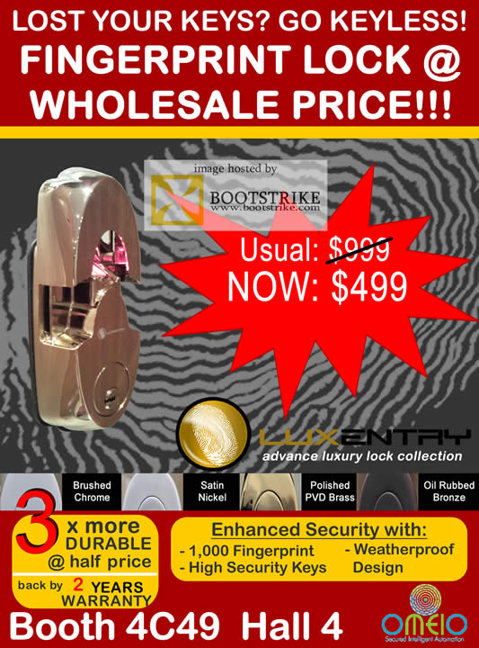 Sitex 2010 price list image brochure of Omeio Fingerprint Advance Luxury Lock
