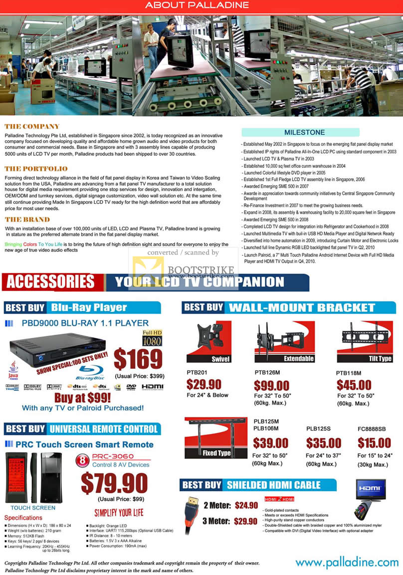 Sitex 2010 price list image brochure of Palladine Accessories Blu Ray Player Universal Remote Wall Mount Bracket