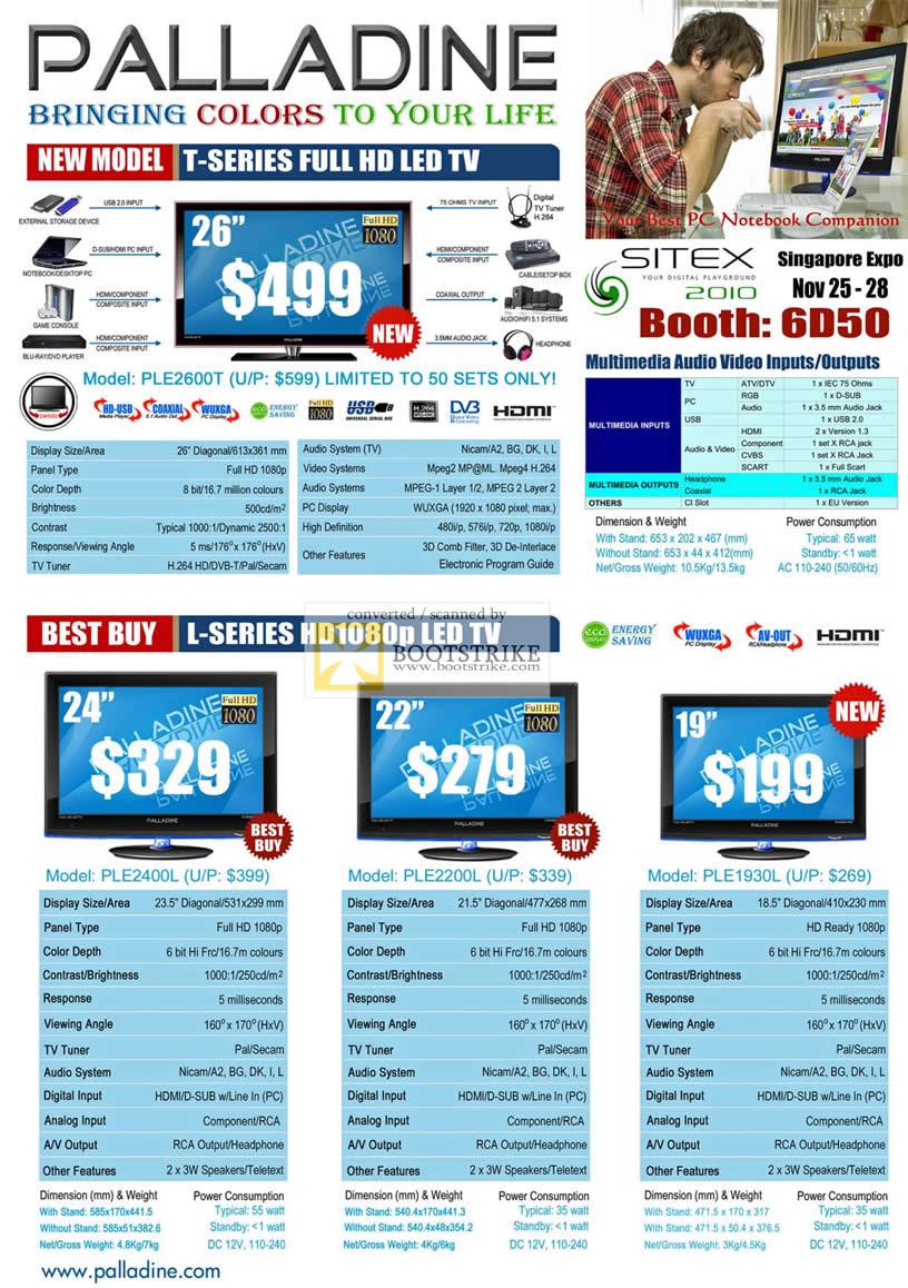 Sitex 2010 price list image brochure of Palladine LED TV T Series L PLE2600T 2400L 2200L 1930L