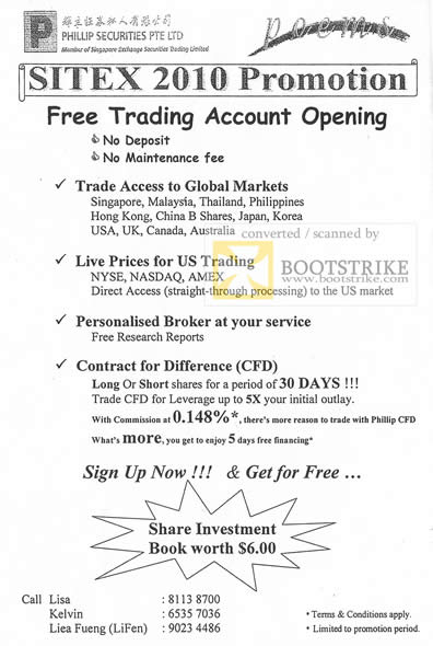 Sitex 2010 price list image brochure of Phillip Securities Poems Trading Account