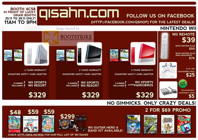 Sitex 2010 price list image brochure of Qisahn Com Nintendo Wii Remote Sports Resort Mariobros Games Guitar Hero 6 Band Kit