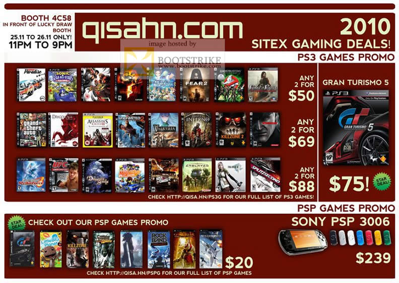 Sitex 2010 price list image brochure of Qisahn Com PS3 Games PSP Games Sony PSP 3006 Gran Turismo 5