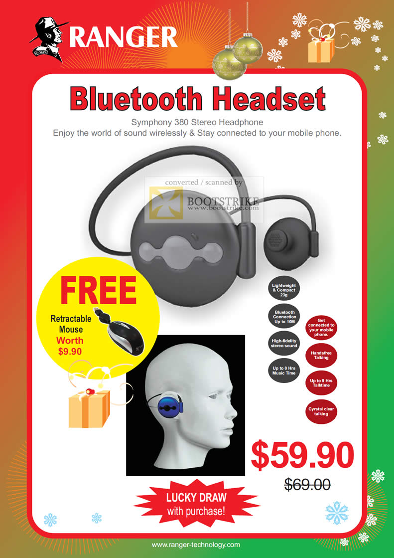 Sitex 2010 price list image brochure of Ranger Bluetooth Headset Symphony 380