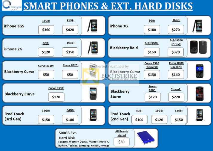 Sitex 2010 price list image brochure of Recycle Point Trade In Smart Phones External Storage