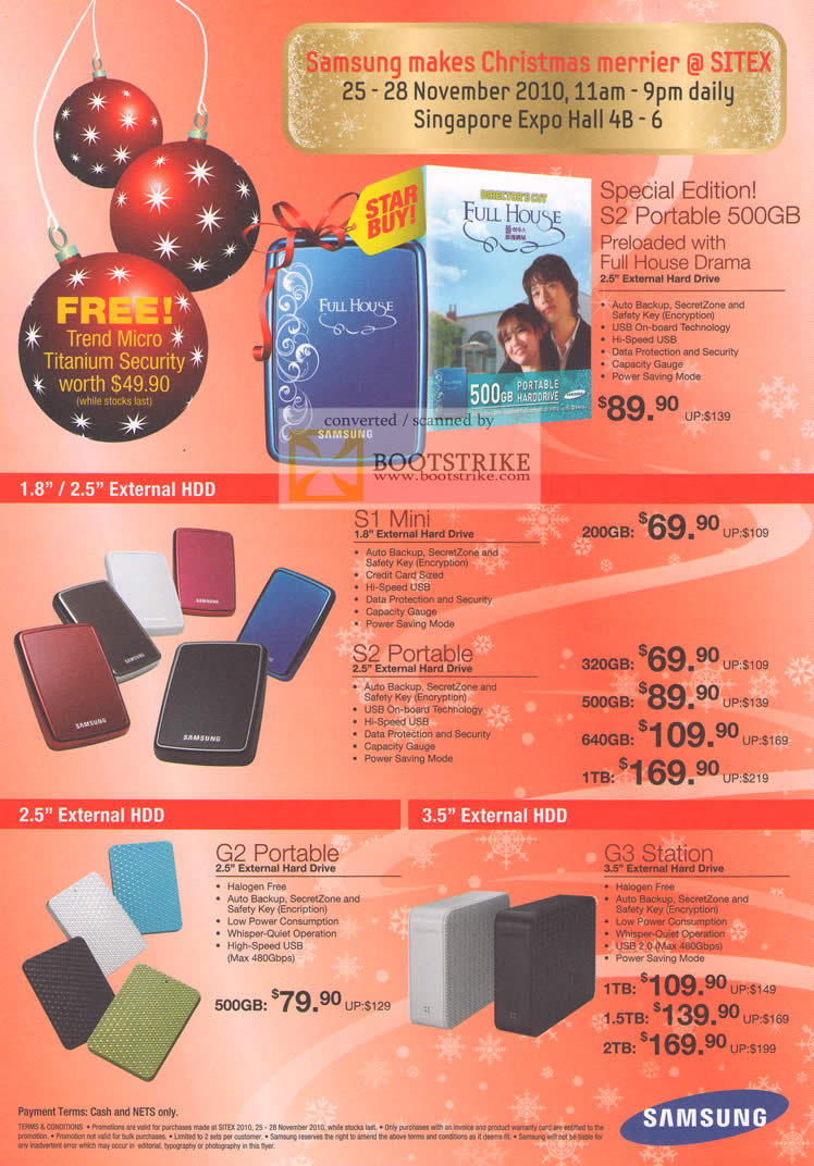 Sitex 2010 price list image brochure of Samsung External Storage S2 Portable S1 Mini G2 G3 Station