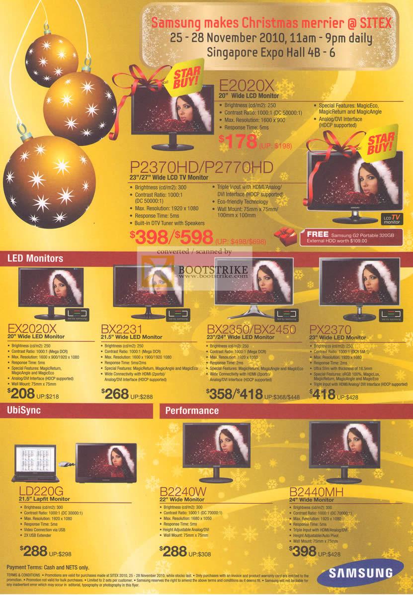 Sitex 2010 price list image brochure of Samsung LCD Monitors E2020X P2370HD P2770HD LED EX2020X BX2231 UbiSync LD220G B2240W