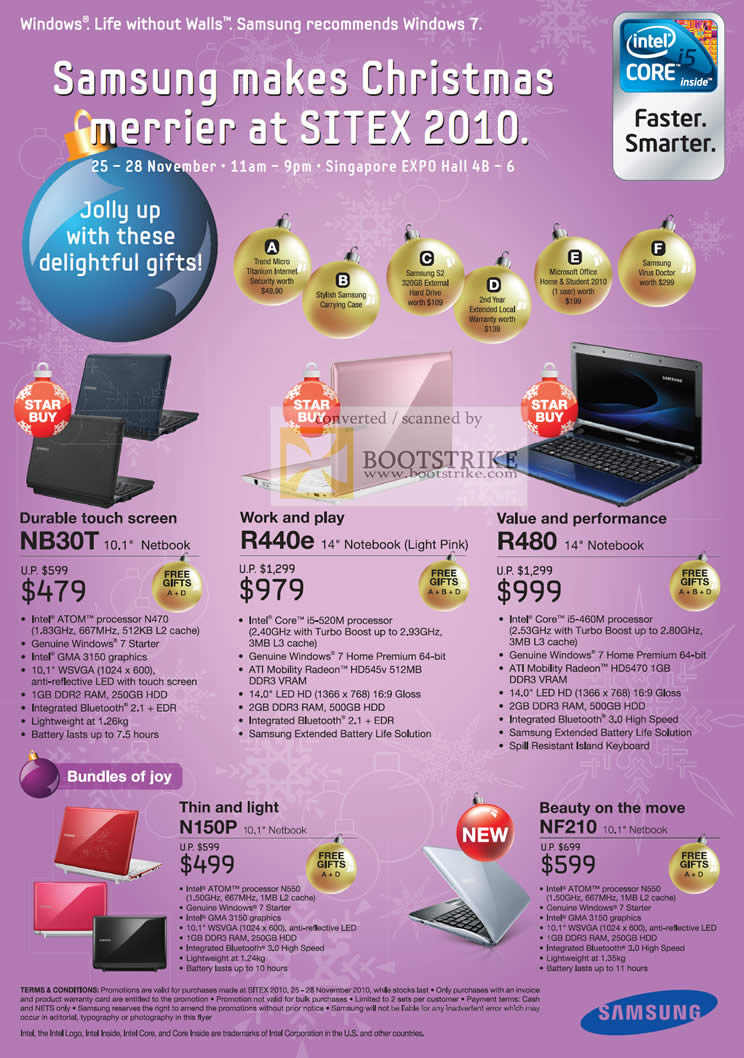 Sitex 2010 price list image brochure of Samsung Notebooks NB30T R440e R480 N150P NF210 Touch
