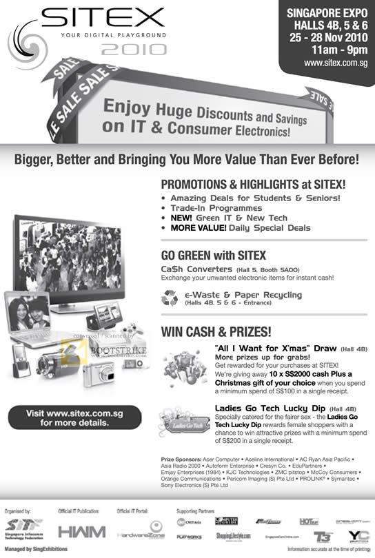 Sitex 2010 price list image brochure of Sitex 2010 Ad Lucky Draw Cash Prizes Ladies Go Tech