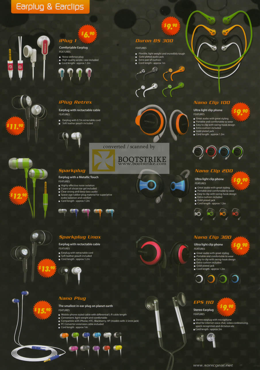 Sitex 2010 price list image brochure of Sonicgear Earphones IPlug 1 Duron Nano Clip Sparkplug Clip 200 Unox 300 EPS 110