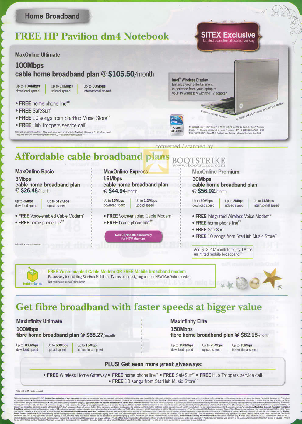 Sitex 2010 price list image brochure of Starhub HP Pavilion DM4 Notebook Maxonline Ultimate Express Basic Premium Fibre MaxInfinity Elite