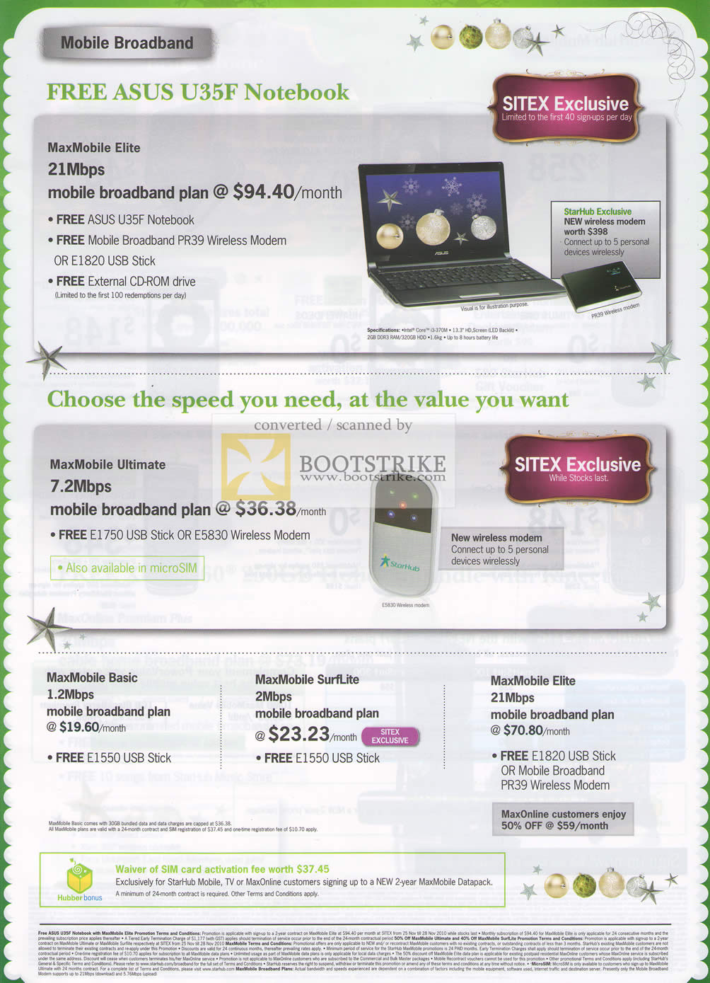 Sitex 2010 price list image brochure of Starhub Mobile Broadband ASUS U35F Maxmobile Elite Ultimate Basic SurfLite Elite