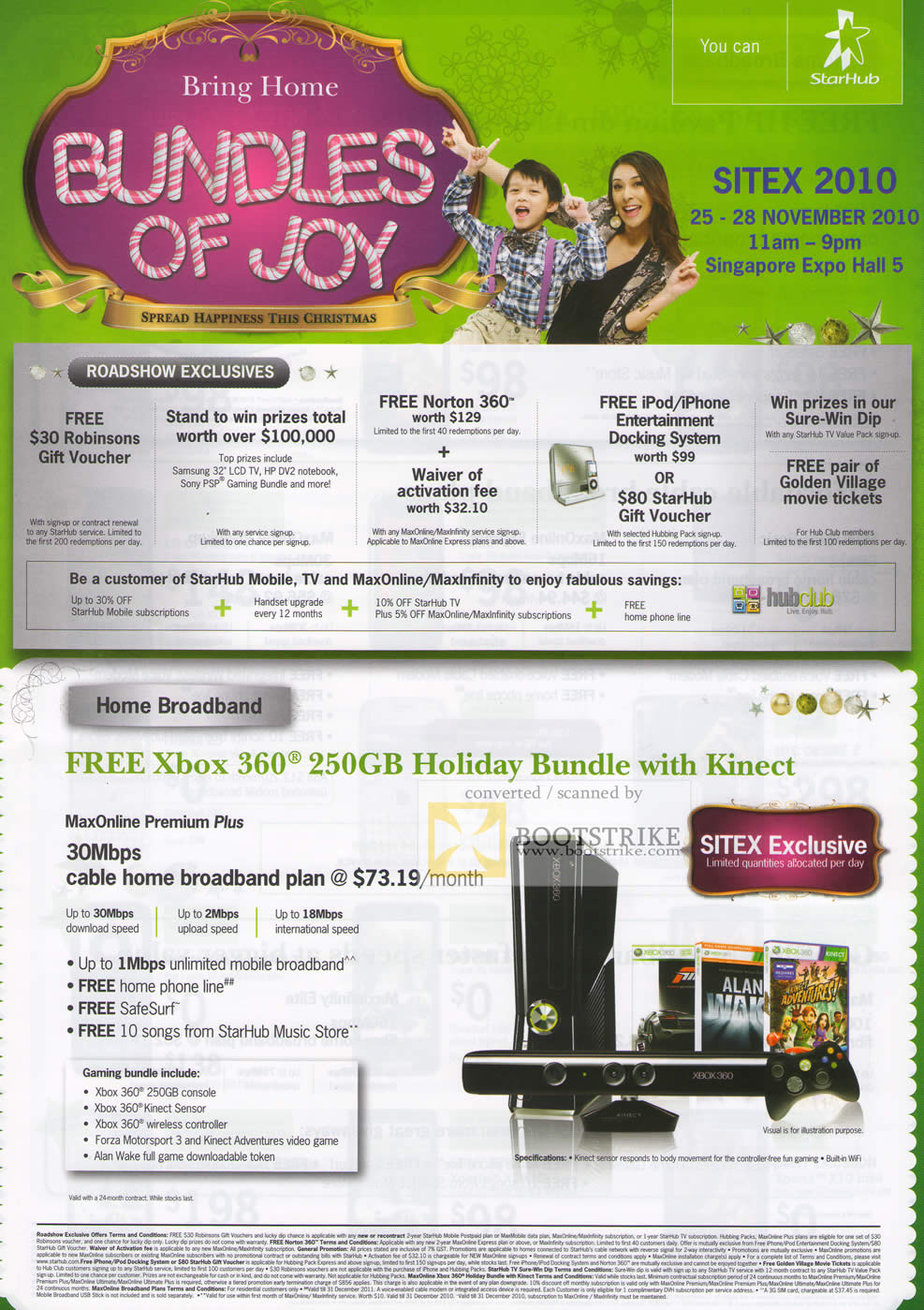 Sitex 2010 price list image brochure of Starhub Roadshow Exclusives Xbox 360 Kinect Maxonline Premium Plus