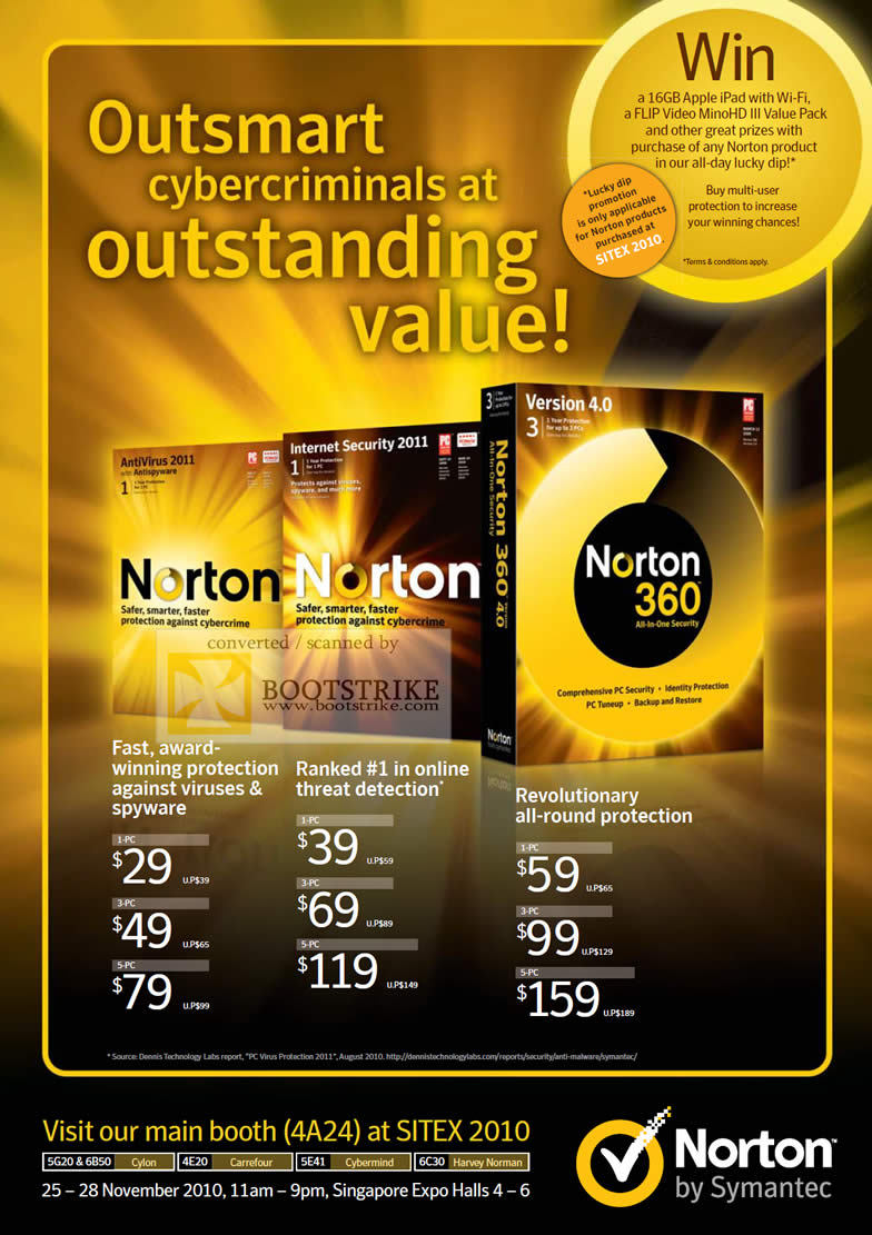 Sitex 2010 price list image brochure of Symantec Norton AntiVirus 2011 Internet Security 360 Version 4