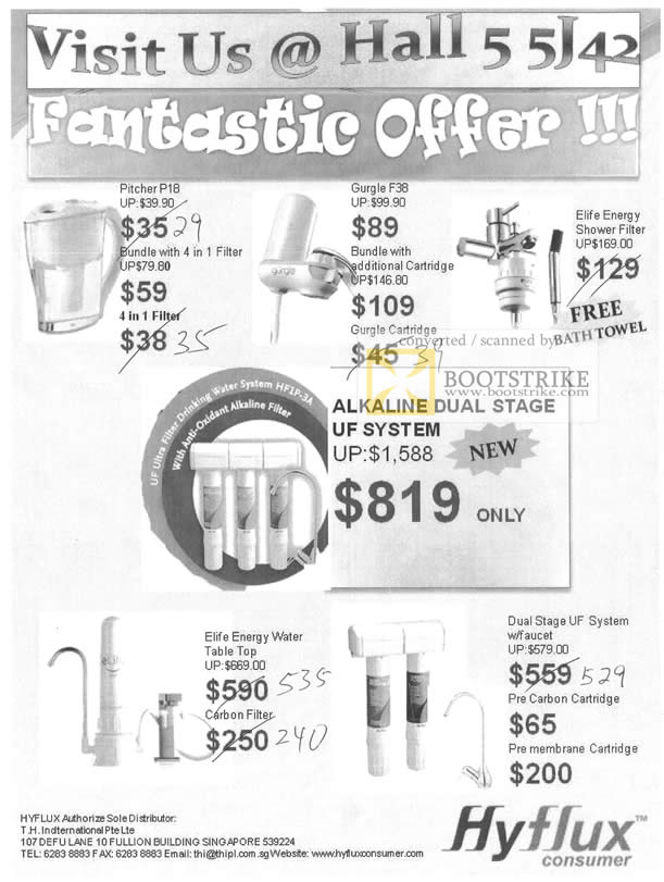 Sitex 2010 price list image brochure of TH Hyflux Pitcher P18 Filter Gurgle F38 Cartridge Elife Energy Shower Alkaline Duak Stage UF System Carbon Pre Membrane