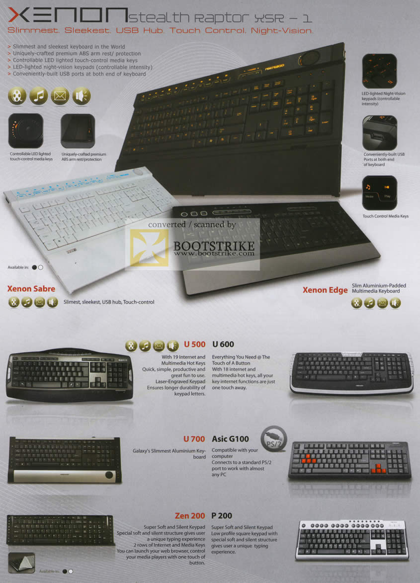 Sitex 2010 price list image brochure of The Headphones Gallery Powerlogic Keyboard Xenon Stealth Raptor XSR Sabre Edge U500 U700 Zen 200 Asic G100