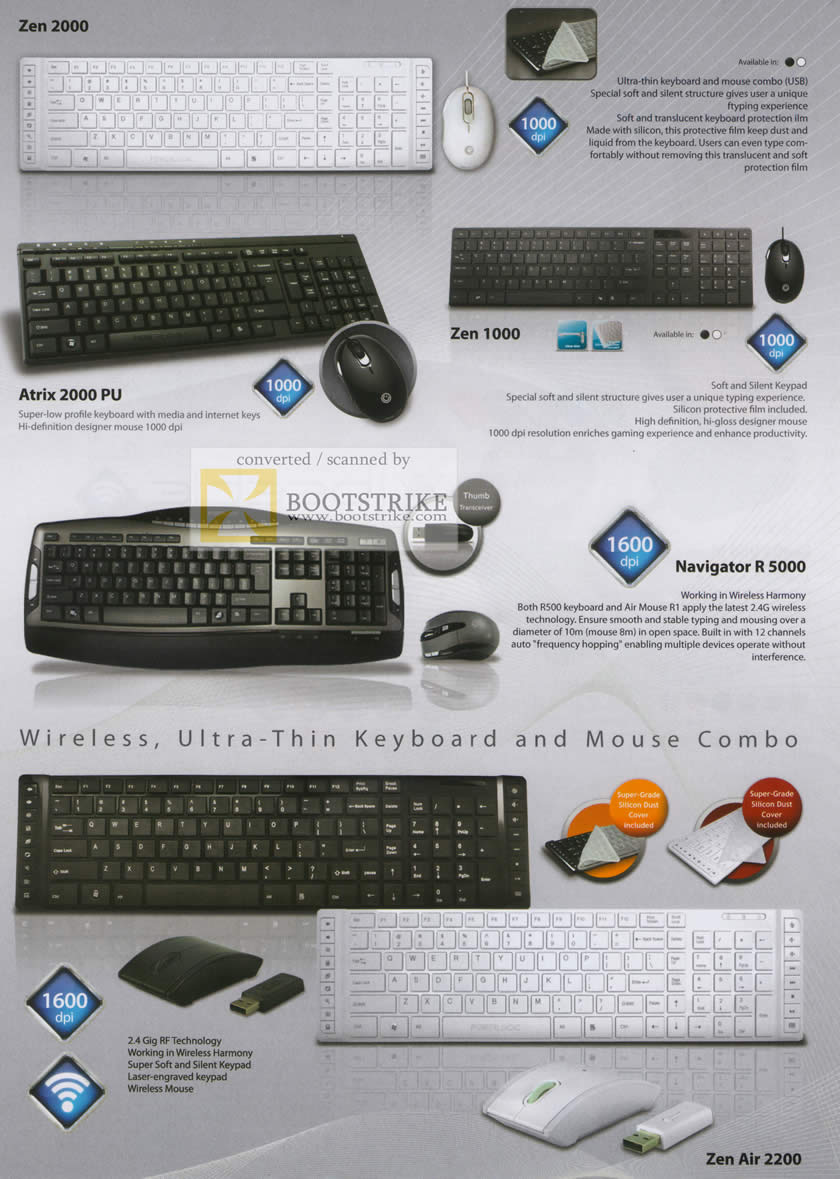 Sitex 2010 price list image brochure of The Headphones Gallery Powerlogic Keyboards Zen 2000 Atrix 1000 PU Navigator R 5000