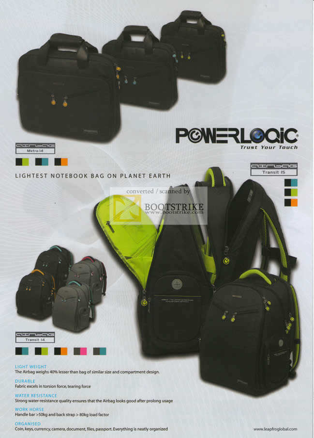 Sitex 2010 price list image brochure of The Headphones Gallery Powerlogic Lightest Notebook Bag Features
