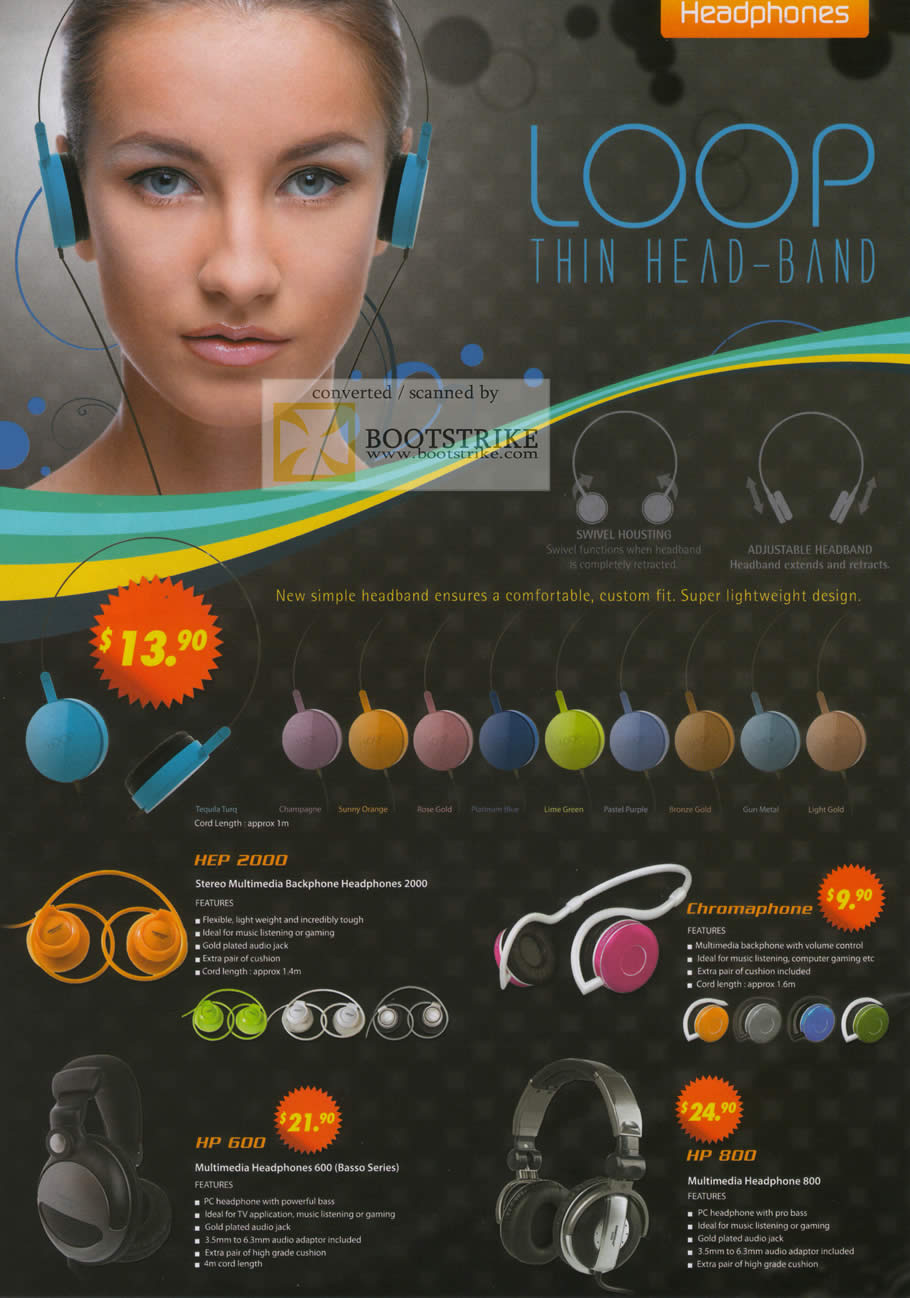 Sitex 2010 price list image brochure of The Headphones Gallery Sonicgear Headset HEP 2000 Chromaphone HP 600 800