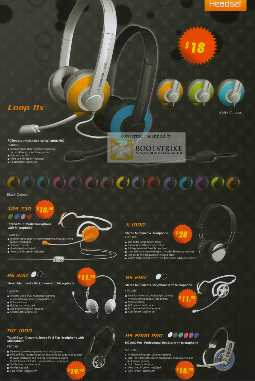 Sitex 2010 price list image brochure of The Headphones Gallery Sonicgear Loop IIx Headset XBS3300 X 1000 BS 200 BS 280 TGC 1000 HS 2000 Pro